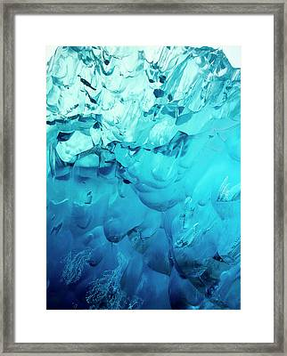Close-up Of Blue Ice In An Iceberg Framed Print by Stuart Westmorland
