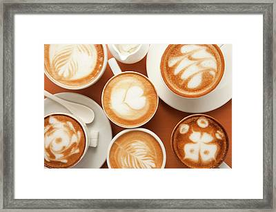 Close-up Of Cups Of Cappuccino With Framed Print by Imagemore Co, Ltd.