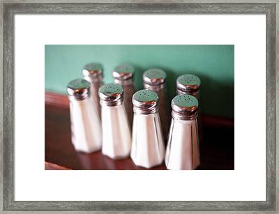 Close Up Of Salt Shakers On Counter Framed Print by Cultura Rm Exclusive/yellowdog