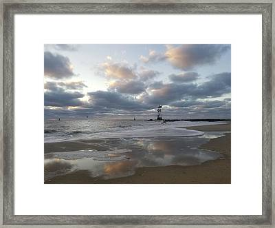 Framed Print featuring the photograph Cloud's Reflections At The Inlet by Robert Banach
