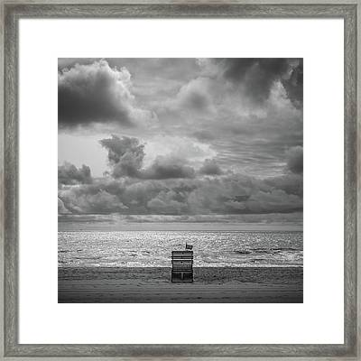 Cloudy Morning Rough Waves Framed Print