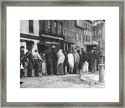Coal Queue Framed Print by Edwin Levick