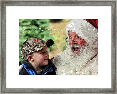 Framed Print featuring the photograph Cody Santa Greeting by Jerry Sodorff