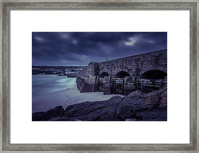 Cold Mood On The Pier Framed Print