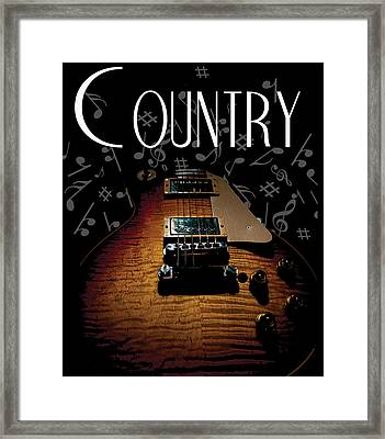 Framed Print featuring the digital art Color Country Music Guitar Notes by Guitar Wacky
