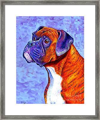Colorful Brindle Boxer Dog Framed Print