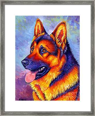 Colorful German Shepherd Dog Framed Print