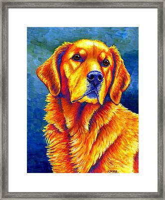 Colorful Golden Retriever Dog Framed Print