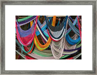 Colorful Hammocks Framed Print by Philippe Marion
