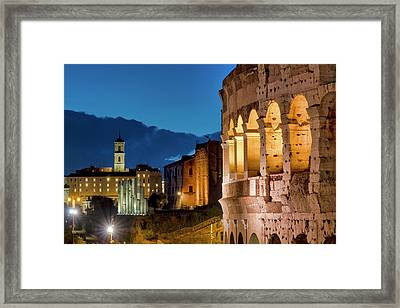 Framed Print featuring the photograph Colosseum And The Campidoglio by Fabrizio Troiani