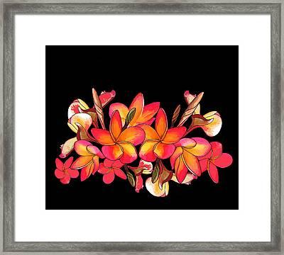 Coloured Frangipani Black Bkgd Framed Print