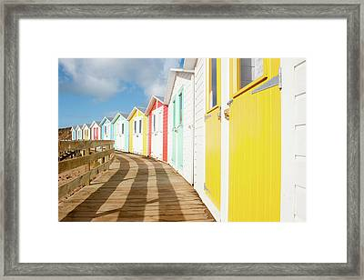 Colourful Bude Beach Huts Framed Print