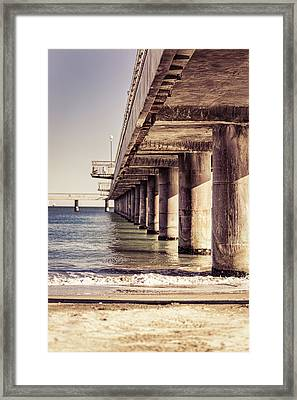 Columns Of Pier In Burgas Framed Print
