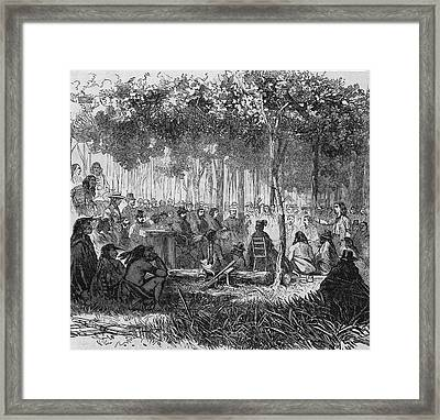 Comanches & Americans Confer Framed Print by Frederic Lewis