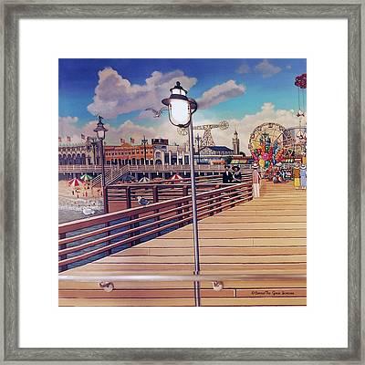 Coney Island Boardwalk Pillow Mural #1 Framed Print