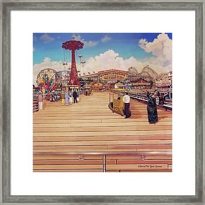 Coney Island Boardwalk Pillow Mural #2 Framed Print