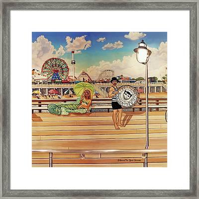 Coney Island Boardwalk Pillow Mural #4 Framed Print