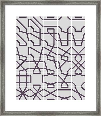 Connect 2 Mono Grid Framed Print