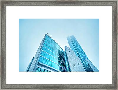 Contemporary Architecture In The Fog Framed Print by Cirano83