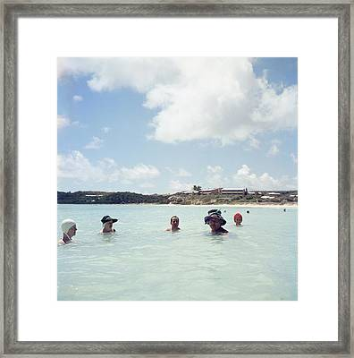 Cooling Off In Antigua Framed Print by Slim Aarons