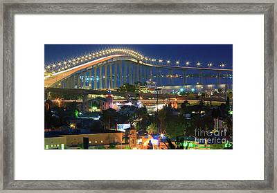 Coronado Bay Bridge Shines Brightly As An Iconic San Diego Landmark Framed Print