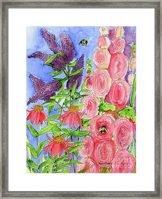 Cottage Garden Hollyhock Bees Blue Skie Framed Print