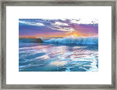 Cotton Candy Sunrise Surf Framed Print