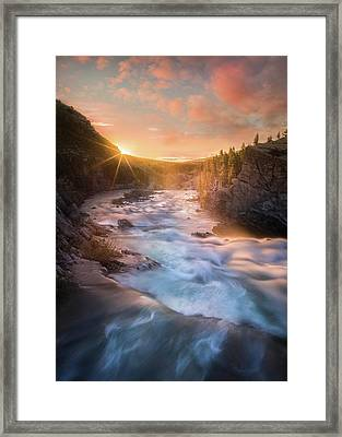 Framed Print featuring the photograph Cotton Candy Sunrise / Swiftcurrent Falls, Glacier National Park  by Nicholas Parker