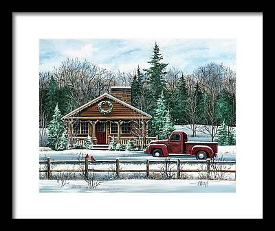 Log Truck Framed Prints