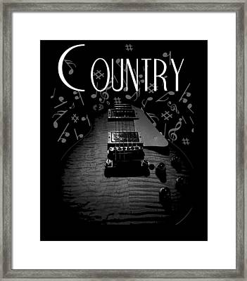 Framed Print featuring the digital art Country Music Guitar Music by Guitar Wacky