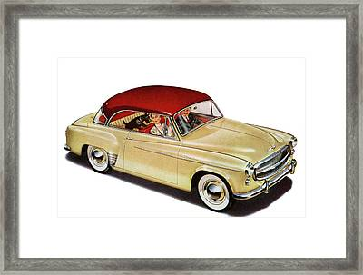 Couple In Car With Scotty Dog Framed Print by Graphicaartis