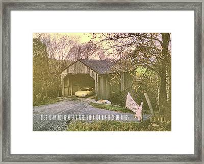 Covered Bridge Quote Framed Print by JAMART Photography