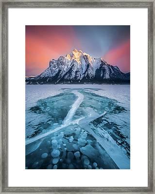 Cracked / Abraham Lake, Canada  Framed Print