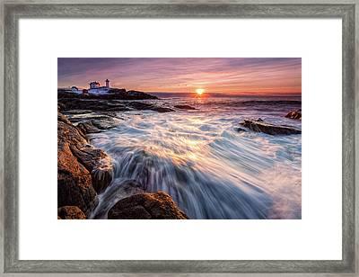 Crashing Waves At Sunrise, Nubble Light.  Framed Print