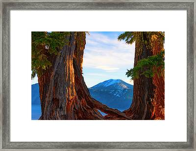 Crater Lake Early Dawn Scenic Views Viii Framed Print