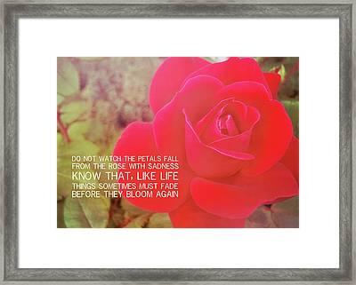 Crimson Velvet Quote Framed Print by JAMART Photography