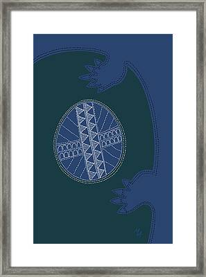 Framed Print featuring the digital art Crocodile Egg by Attila Meszlenyi