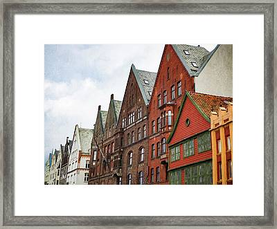 Framed Print featuring the photograph Crooked Buildings Of Bergen Norway In Europe by Whitney Leigh Carlson