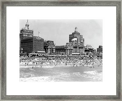 Crowded Beach Framed Print by H. Armstrong Roberts