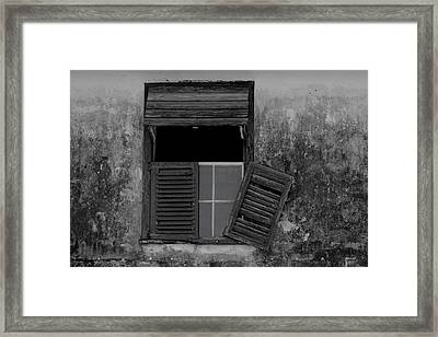 Crumblling Window Framed Print