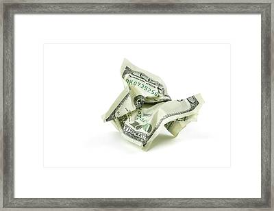Crumpled Money With Clipping Path Framed Print by Georgepeters