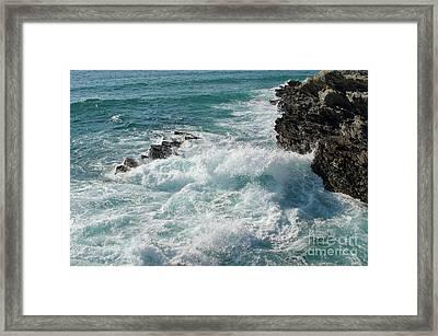 Crushing Waves In Porto Covo Framed Print