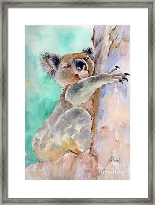 Cuddly Koala Watercolor Painting Framed Print