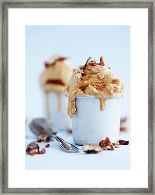 Cups Of Caramel Ice Cream With Nuts Framed Print by Cultura Rm Exclusive/line Klein