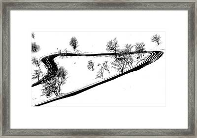 Curved Light Trails Framed Print by Martin Pickard