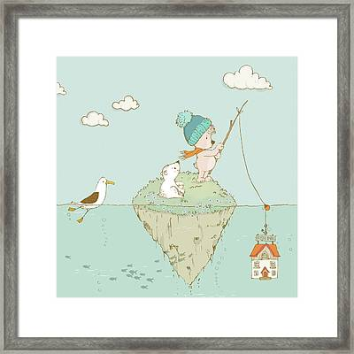 Framed Print featuring the painting Cute Little Bear Goes Fishing by Matthias Hauser