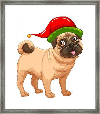 3ae9cb5fc70f2 Louise Lench Arrow Down.  68. View Similar Art. Cute Pug In A Christmas Elf  Hat Framed Print