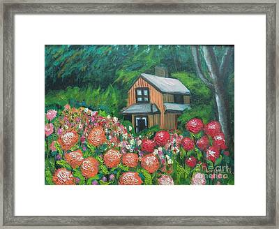 Dahlias In The Woods Framed Print