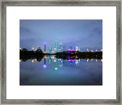 Framed Print featuring the photograph Dallas Cityscape Reflection by Robert Bellomy