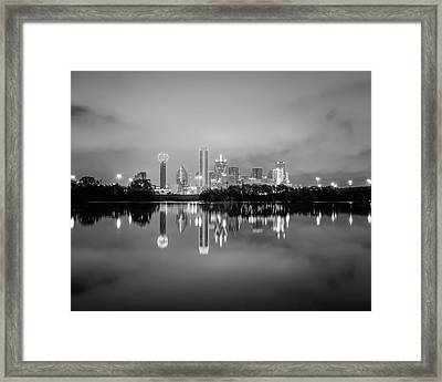 Dallas Cityscape Reflections Black And White Framed Print